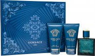 Versace Eros Gift Set 50ml EDT  50ml Aftershave Balm  50ml Shower Gel