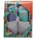 Style & Grace Bubble Boutique Slipper Gift Set 150ml Body Wash  150ml Body Lotion  Slippers (One Size)