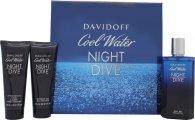 Davidoff Cool Water Night Dive Gift Set 125ml EDT  75ml Shower Gel   75ml Aftershave Balm