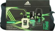 Adidas Sport Field Gift Set 100ml EDT  150ml Body Spray  250ml Shower Gel  Bag