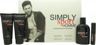 Simply Sport Homme Gift Set 100ml EDT  100ml Aftershave Balm  100ml Hair & Body Wash  15ml EDT
