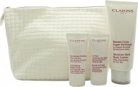 Clarins My Winter Essentials Gift Set 200ml Body Lotion  30ml Body Scrub  30ml Hand Cream  Travel Case